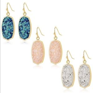 Gold and Silver Sparkling Druzy Earrings